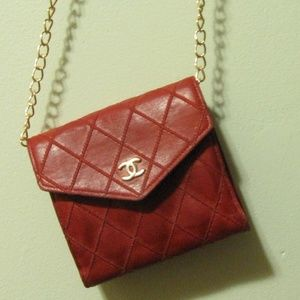 Authentic Chanel Red Soft Lambskin Leather Wallet